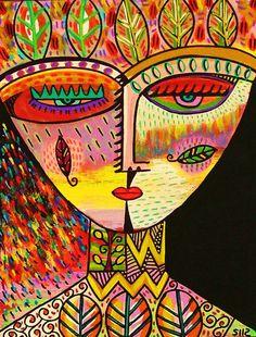 Tribal Talavera Goddess  Leaves  by SandraSilberzweigArt on Etsy, $18.99