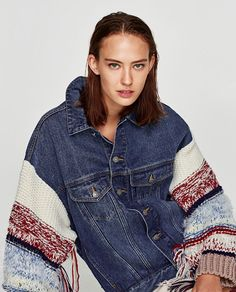 Image 4 of DENIM JACKET WITH CONTRASTING SLEEVES from Zara