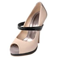 Peep Toe Pumps Nude and Black with straps High Heel Shoe