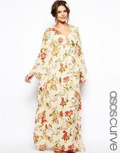 ASOS CURVE Kimono Maxi Dress In Bird Print