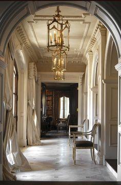 hallway, curtains, walls.