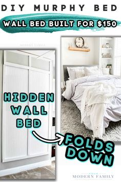 DIY Murphy Bed - built for $150 in a day! Build A Murphy Bed, Queen Murphy Bed, Murphy Bed Kits, Murphy Bed Plans, Murphy Beds, Hidden Wall Bed, Bed Next, Guest Bed, Guest Room