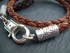 Braided Leather Bracelet Mens Womens by UrbanSurvivalGearUSA