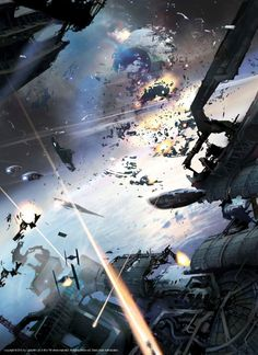"""Aftermath destruction of the second Death Star...Breathtaking Art that Puts the """"Wars"""" in Star Wars"""