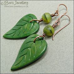 Summer leaf earrings - polymer clay and copper