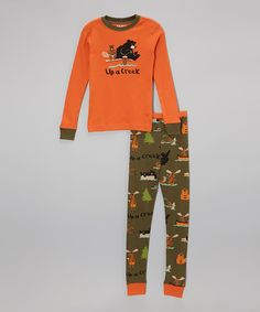 Love this Orange 'Up a Creek' Pajama Set - Toddler & Boys by Lazy One on #zulily! #zulilyfinds