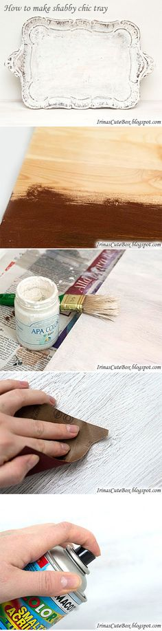 A DIY tutorial how to make a shabby chic tray.
