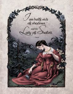 Lord Tennyson - Victorian Art Poetry Print - Lady of Shalott Poem - Century Victorian Vintage Reproduction - Half Sick of Shadows Victorian Poetry, Victorian Art, Film Movie, Dahlia, The Lady Of Shalott, Gothic Wallpaper, Illustrated Words, Poetry Art, Illustrations