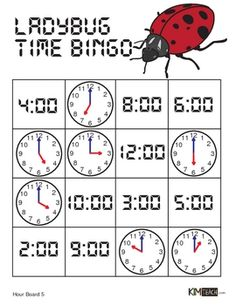 Ladybug Time Bingo - Hour Version - Students practice time visually using analog and digital times with this bingo game. This game is to learn the on the HOUR times. Could be used with the reading of The Grouchy Ladybug. teaching tools. printables. education.