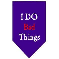 I Do Bad Things Screen Print Bandana Purple Small
