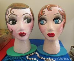 How to make handpainted paper mache mannequin heads. Cute idea to hold your hats or headbands! Elmo Party, Dinosaur Party, Mickey Party, Crafts To Make, Fun Crafts, Peach Paint, Styrofoam Head, Hat Holder, Mannequin Art