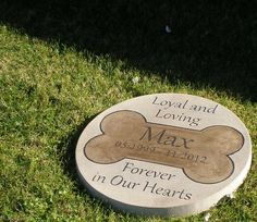 "Personalized Engraved Pet Memorial Step Stone 13.5"" Diameter 'Loving and Loyal Forever in Our Hearts'"