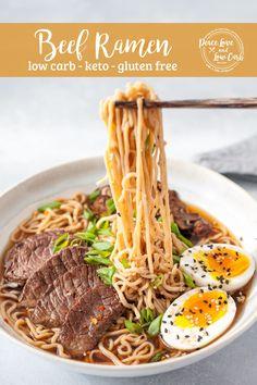 Beef Ramen Recipe, Ramen Recipes, Asian Recipes, Real Food Recipes, Cooking Recipes, Oriental Recipes, Free Recipes, Low Carb Chicken Recipes, Healthy Low Carb Recipes