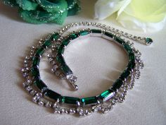Signed Kramer Necklace with Emerald Green by JanesVintageJewels, $115.00