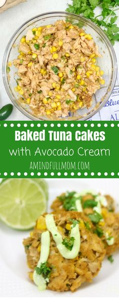 Easy Southwestern Tuna Cakes with Avocado Cream: Tuna patties get a Mexican Spin with the addition of jalapeno, cilantro, corn, and paprika. Served with a bright Avocado Cream that pairs perfectly with these light and healthy tuna cakes. AD #tunafishrecipe #healthy #seafood #dairyfree #glutenfree option via @amindfullmom