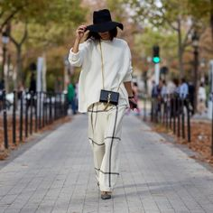 Black Hat, Yves Saint Laurent Bag, White Knit, Wide Trousers #STREETSTYLE