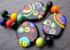 Silly Dots Handmade Lampwork Bead Set 13 by by AnnesGlassJewels