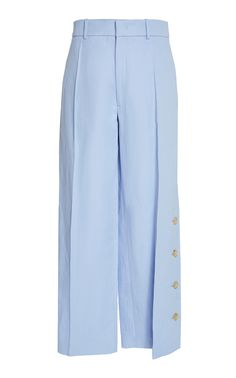 Fade High-Waisted Button-Trimmed Twill Wide-Leg Trousers by Joseph Wide Leg Trousers, Work Fashion, Joseph, Women Wear, Buttons, Pants, Outfits, Shopping, Collection