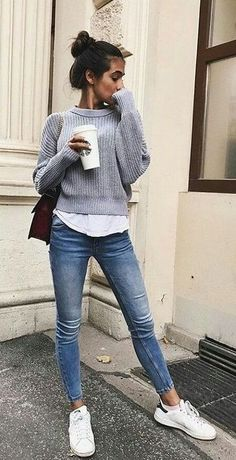 fall street style. skinny jeans. knit. sneakers.
