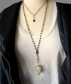 Beaded Y Necklace Arrowhead Necklace Long Pendant by ViaLove