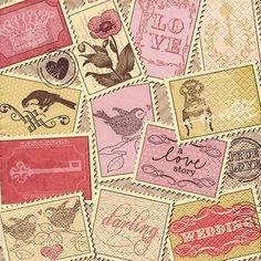 20 Servietten Romantic Stamps - Briefmarkensammlung / Vintage 33x33cm Servietten Alt und Modern http://www.amazon.de/dp/B00B6ES09W/ref=cm_sw_r_pi_dp_j8-Cvb1PB0SJK
