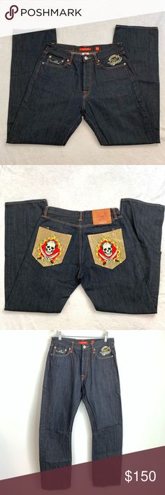 34 Ed Hardy Cream Low Pocket Color Jeans