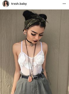Green Banda white lace too green skirt brown eye makeup space buns Trxsh.baby