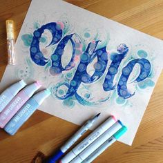 Copic Wide Marker calligraphy finished  with detail in Sketch and Ciao markers by Gentian Osman