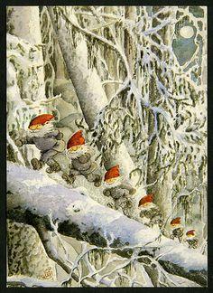 Gnomes on a log. Swedish Christmas, Christmas Gnome, Scandinavian Christmas, Christmas Art, Vintage Christmas Cards, Vintage Cards, Yule, Elves And Fairies, Christmas Illustration