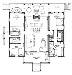 The floor plan for The Camellia. The Camellia is a smaller, beautifully proportioned modern interpretation of the dogtrot. Here the center, dogtrot space, is the living, dining, kitchen and outdoor living spaces. We have shown a more traditional front with large windows and double doors to let the breeze funnel through. A big fireplace centers in the symmetrical vaulted space, and has flanking folding walls that join the indoor and outdoor living spaces…