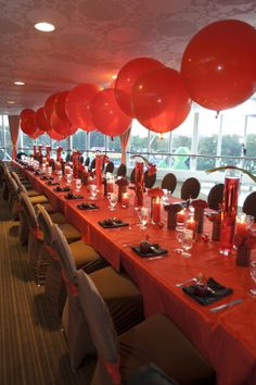 Red set-up for an engagement party.