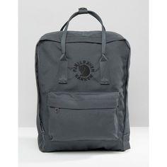 Fjallraven Re-Kanken Slate Backpack (€94) ❤ liked on Polyvore featuring bags, backpacks, grey, fjallraven backpack, fjallraven bag, embroidered bags, gray bag and fjallraven rucksack