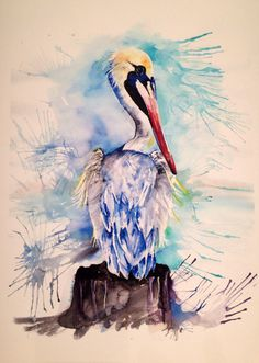 Pelican Blue giclee print unframed coastal by SCwatercolor on Etsy