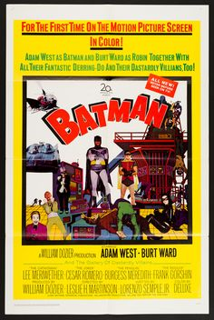 BATMAN (1966) Kaaapow! Holy feature film, Batman ... based on the camp classic tongue-in-cheek 1960's TV series with Batman (Adam West) and Robin (Burt Ward), The Penguin (Meredith) Catwoman (Meriwether), The Joker (Romero) and The Riddler (Gorshin). This was the first feature based on DC Comics characters. Any paper on this film is highly collectible. Excellent condition.