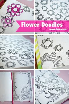 Art journal inspiration. Flower doodles in a notebook, by iHanna of www.ihanna.nu