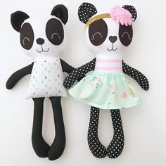 This panda doll is made with love! She is about 15 inches tall and made from high quality cotton fabrics and wool blend felt accessories. Her face is hand embroidered and detailed with cute rosy cheeks. Extra outfits can be purchased to dress her in. Contact me if you would