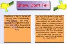 Writing tips - elaboration can be difficult for many students with dyslexia. Like the 'show-don't-tell' examples.