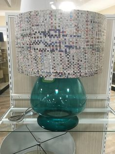 Recycle Chinese newspaper lamp shade.