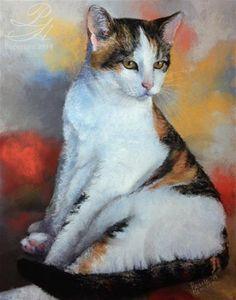 "Daily Paintworks - ""Calico Cat"" - Original Fine Art for Sale - © Pamela Hamilton"