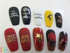Custom made Game of Thrones nail designs.
