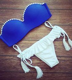 Women New Arrival Sexy Fake Pearl Fringe costumi da bagno donna Strappy Swimsuit Swimwear Female Bikinis Sets $12.8