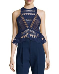 Sleeveless Lace Peplum Top, Navy by Self Portrait at Neiman Marcus.