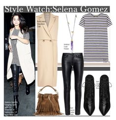 """Style Watch:Selena Gomez"" by nfabjoy ❤ liked on Polyvore featuring River Island, Justin Bieber, NLST, Yves Saint Laurent, selenagomez and CelebrityStyle"