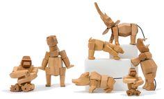 Kolekcja drewnianych zwierząt