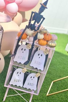 Check out this spooky Halloween picnic party! The ghost party favor bags! See more party ideas and share yours at CatchMyParty.com
