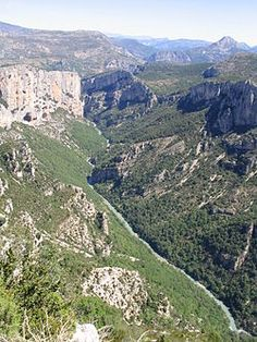 Verdon Gorge - The Gorges Du Verdon (in French: Les Gorges du Verdon or Grand canyon du Verdon), in south-eastern France (Alpes-de-Haute-Provence), is a river canyon that is often considered to be one of Europe's most beautiful. It is about 25 kilometres long and up to 700 metres deep. It was formed by the Verdon River, which is named for its startling turquoise-green colour, one of the location's distinguishing characteristic