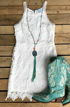Change My Mind Dress - White - $46.99 - Lace Floral White Dress with Blue Cowboy Boots - Wedding Boots - Honeymoon Dress - Wedding Dress - Engagement Pictures Outfit