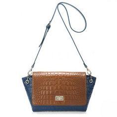 Dwukolorowa torba na ramię z krokodyla w kolorze czekoladowo niebieskim