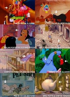 Hidden Disney characters. Disney cameos... Aladdin, Hercules, Lilo and Stitch, Tarzan, Hunchback of Notre Dame, 101 Dalmatians, Princess and the Frog
