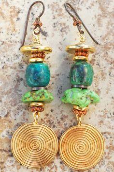 Turquoise Earrings   Green   Gold   Disc   Dangle   XO Gallery   XO Gallery